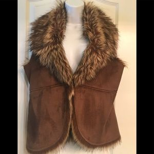 Faux fur Vest Chico's 0 (size Small 4-6) Brown
